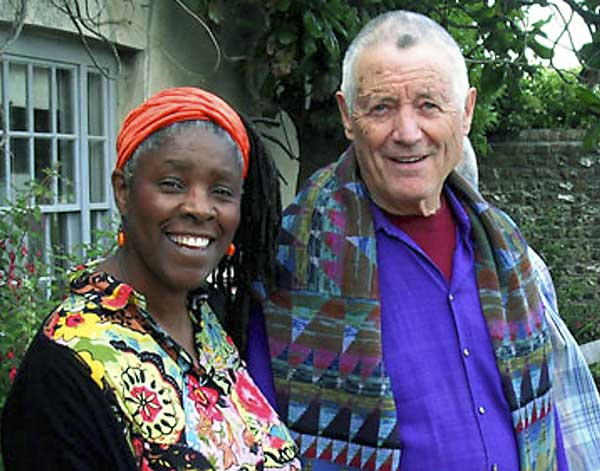 Lorna with Kaffe Fassett at Charleston House, East Sussex