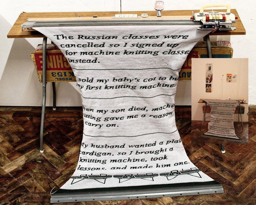 Photo of Machine knitting memories installation by Lorna Hamilton-Brown