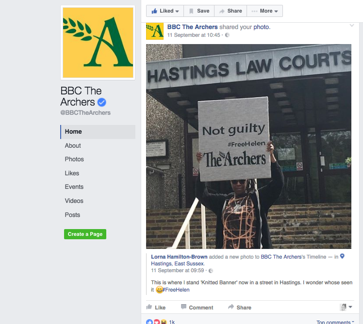 @BBCTheArchers Facebook page features my banner