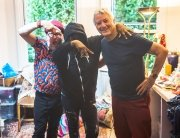 Brandon Mably and Kaffe Fassett with Lorna HB the knitting MC