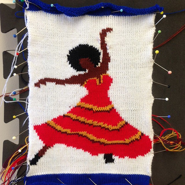 Knitted sketch of Carmen based on Leontyne Price