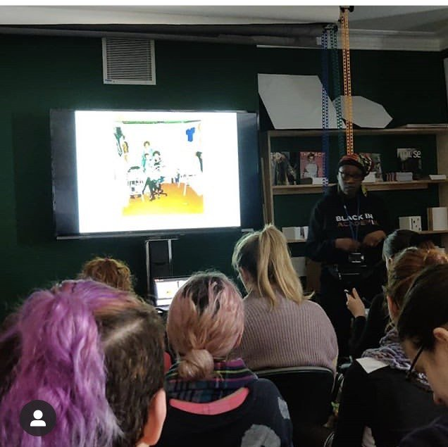 Giving talk to BA Textiles students Brighton Uni