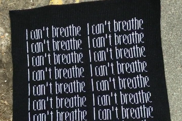 Close up shot of 20 – I can't breathe a knitted artwork
